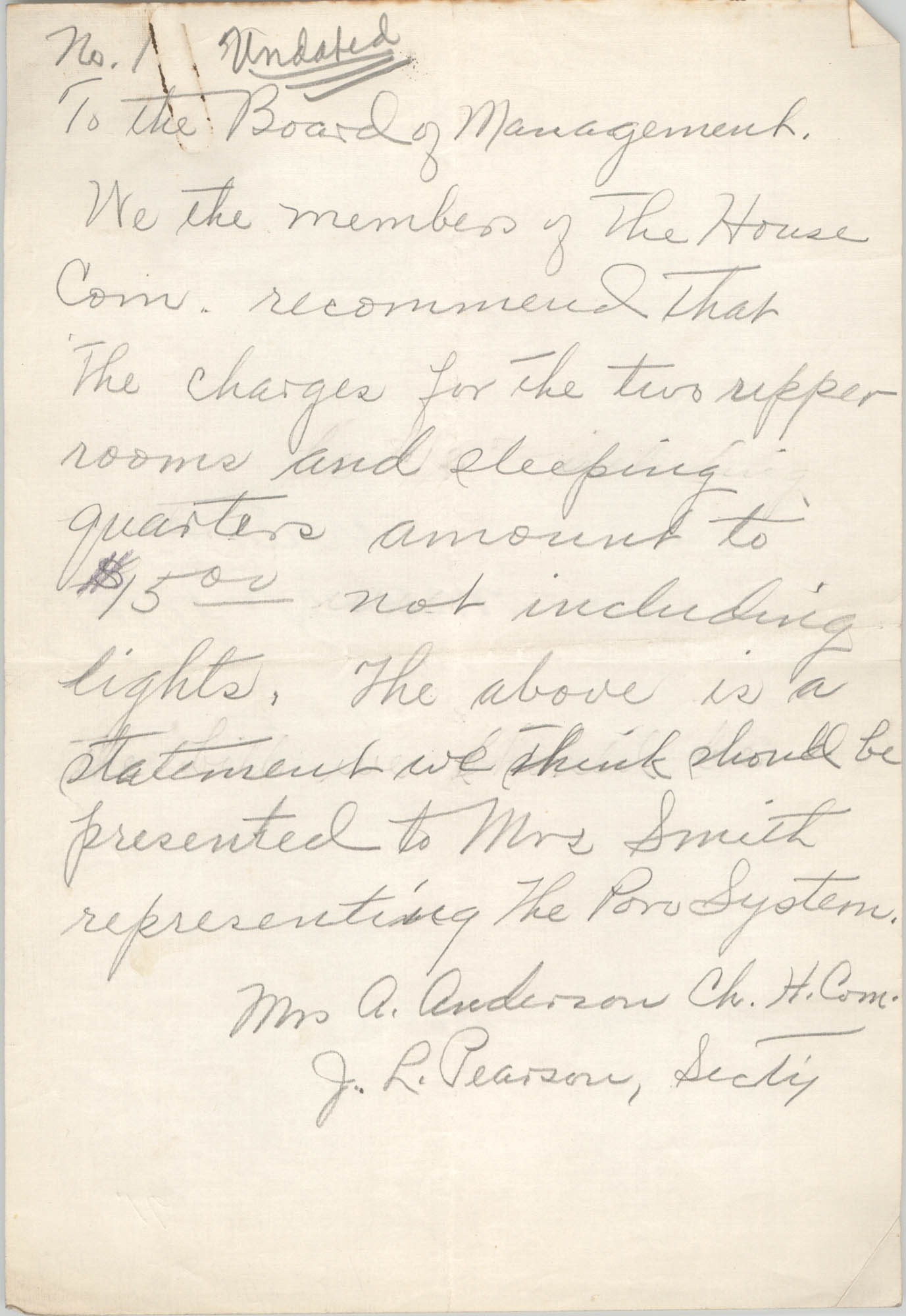 Letter from A. Anderson and J. L. Pearson to the Board of Management