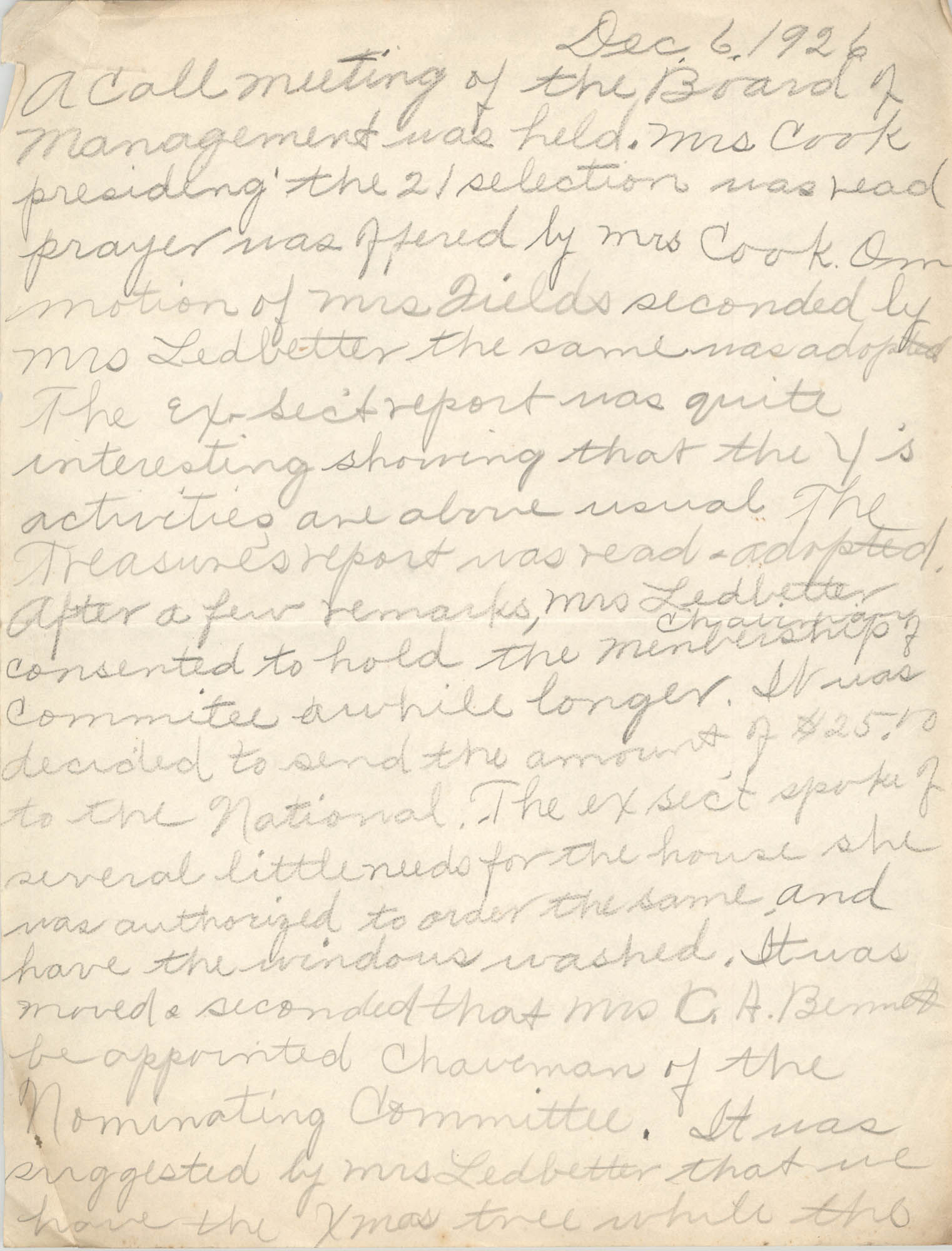 Minutes to the Board of Management, Coming Street Y.W.C.A., December 6, 1926