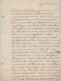 Minutes to the Board of Management, Coming Street Y.W.C.A., April 12, 1926
