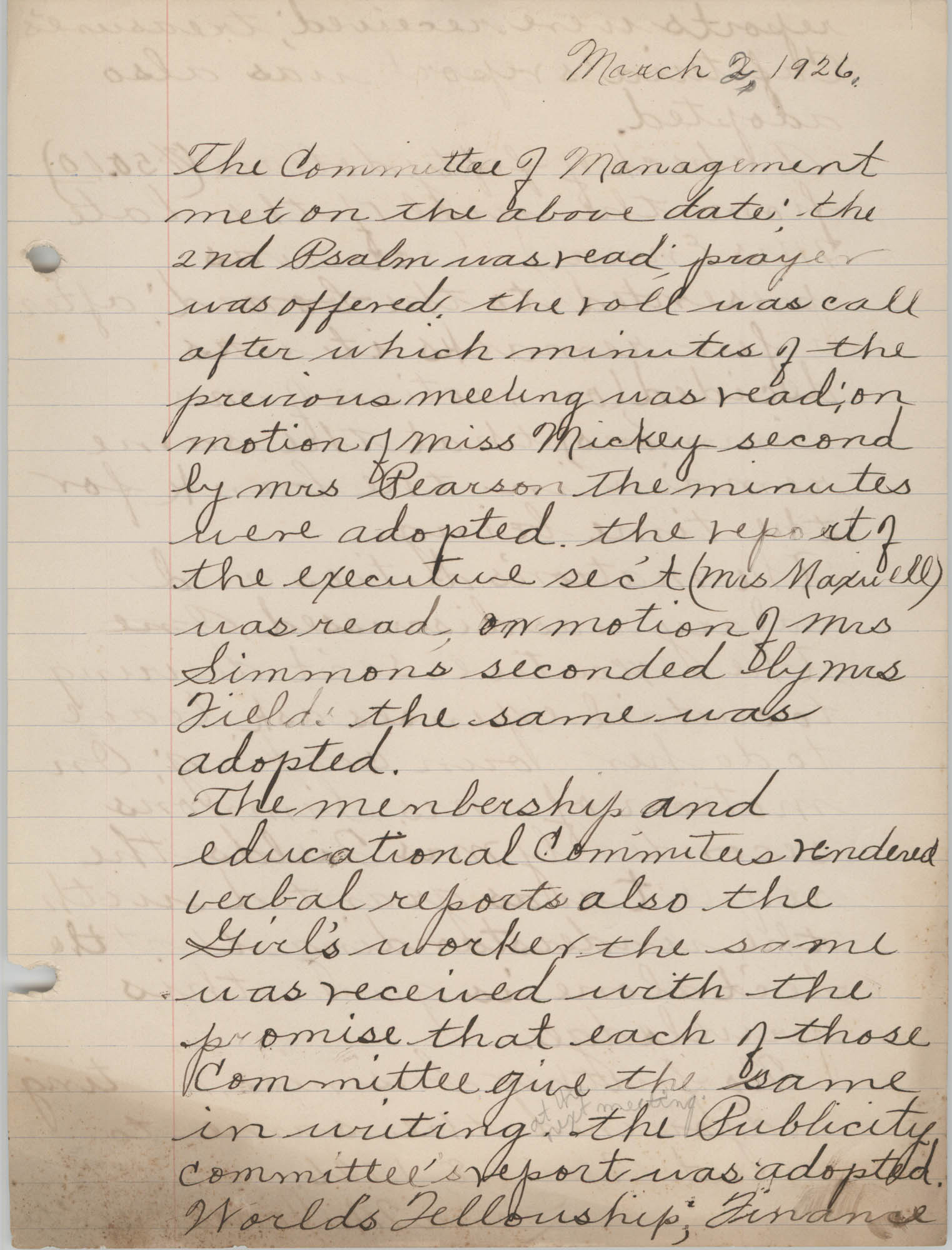 Minutes to the Board of Management, Coming Street Y.W.C.A., March 2, 1926