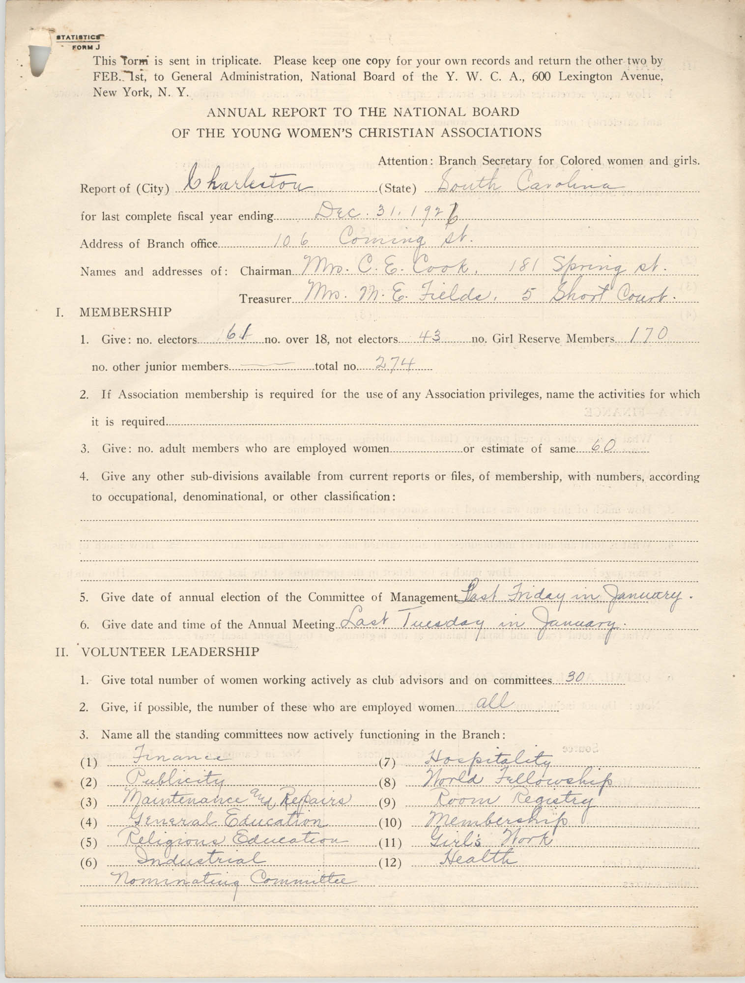 Annual Report to the National Board of the Young Women's Christian Associations, December 1926