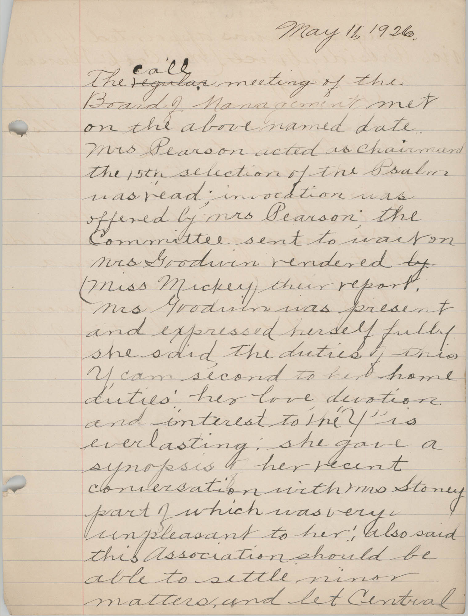 Minutes to the Board of Management, Coming Street Y.W.C.A., May 11, 1926