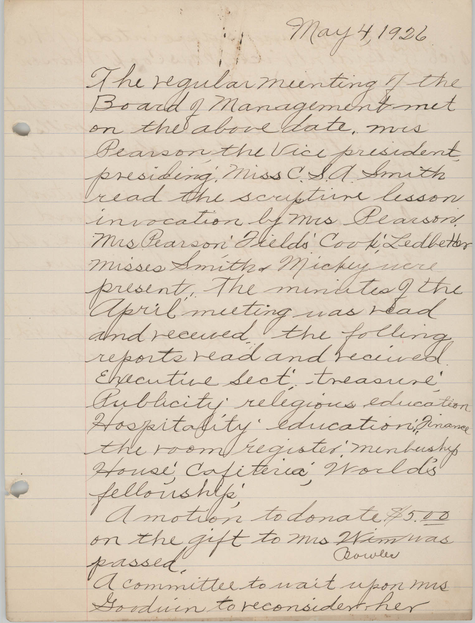 Minutes to the Board of Management, Coming Street Y.W.C.A., May 4, 1926