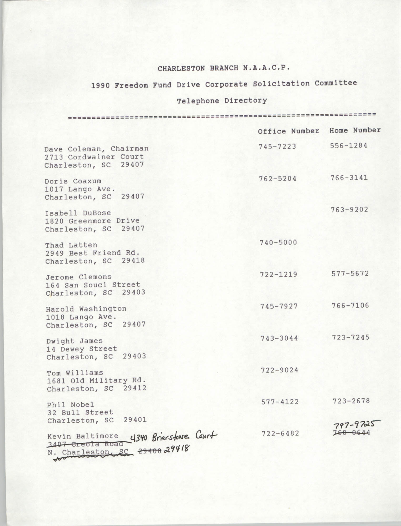Telephone Directory, 1990 Freedom Fund Drive Corporate Solicitation Committee, National Association for the Advancement of Colored People