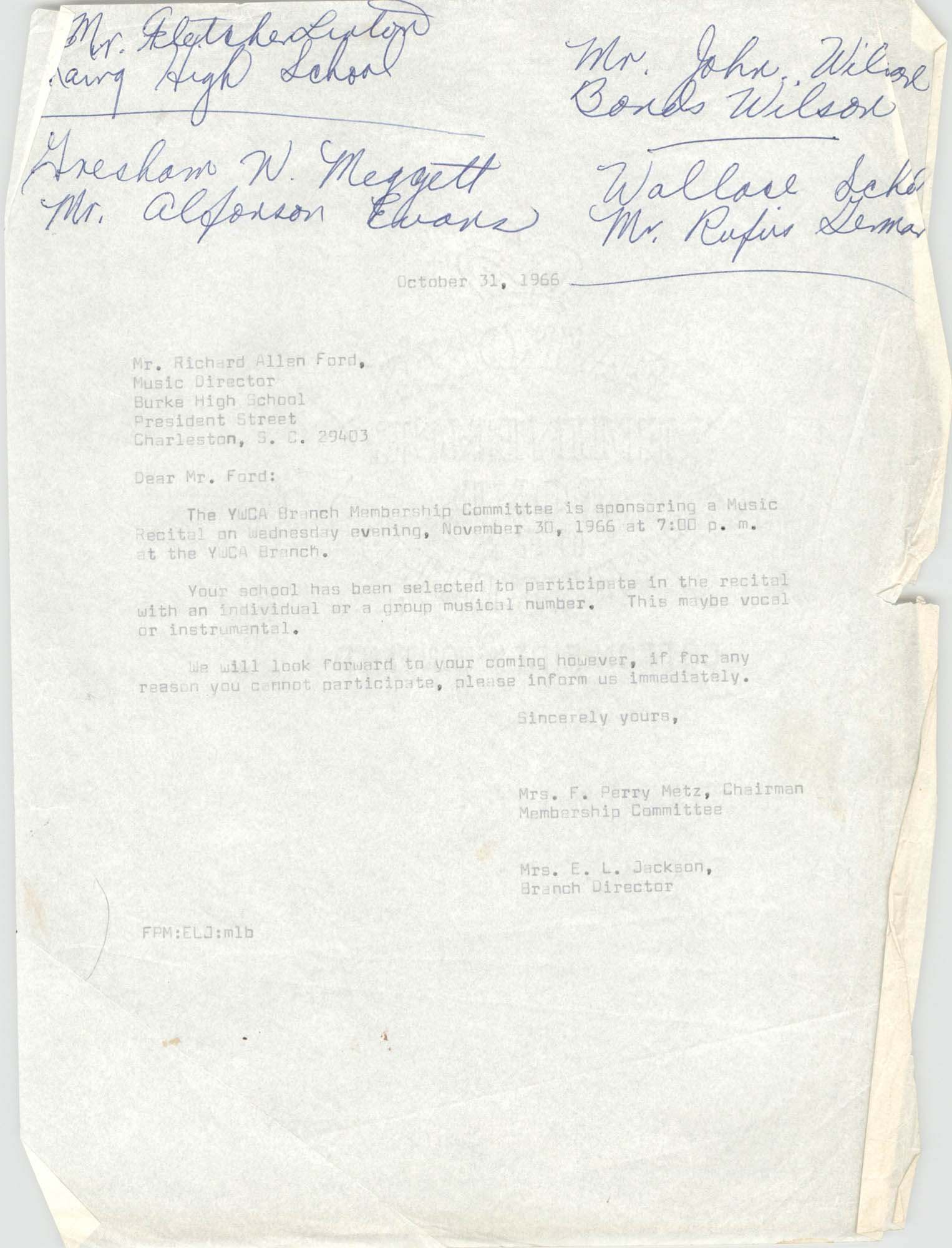 Letter from Mrs. F. Perry Metz and Christine O. Jackson to Richard Allen Ford, October 31, 1966