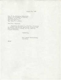 Letter from Mrs. Joseph Brockington to M. B. Holloway, August 16, 1966