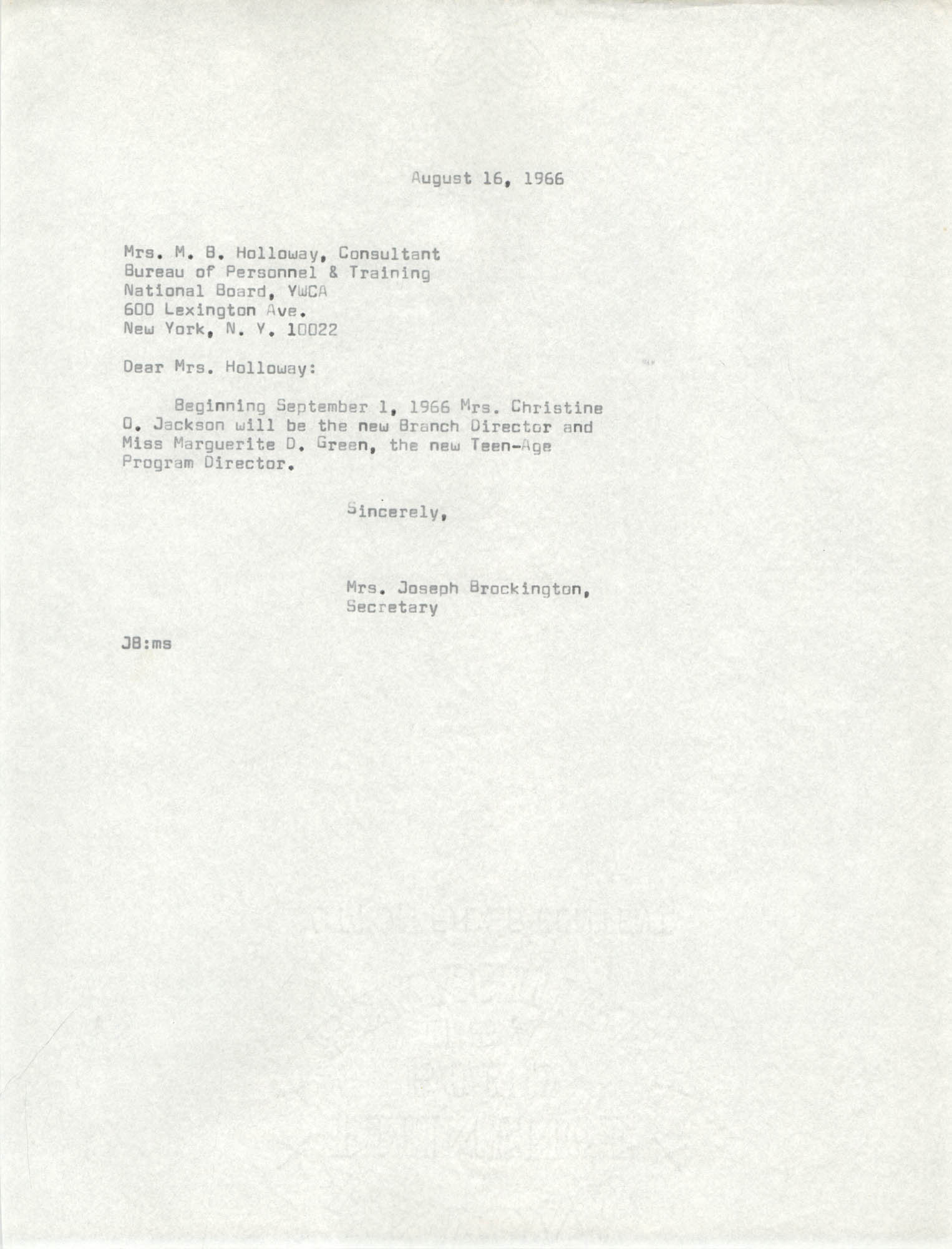 Letter from Mrs. Joseph Brockington to M. B. Holloway, August 16, 1966