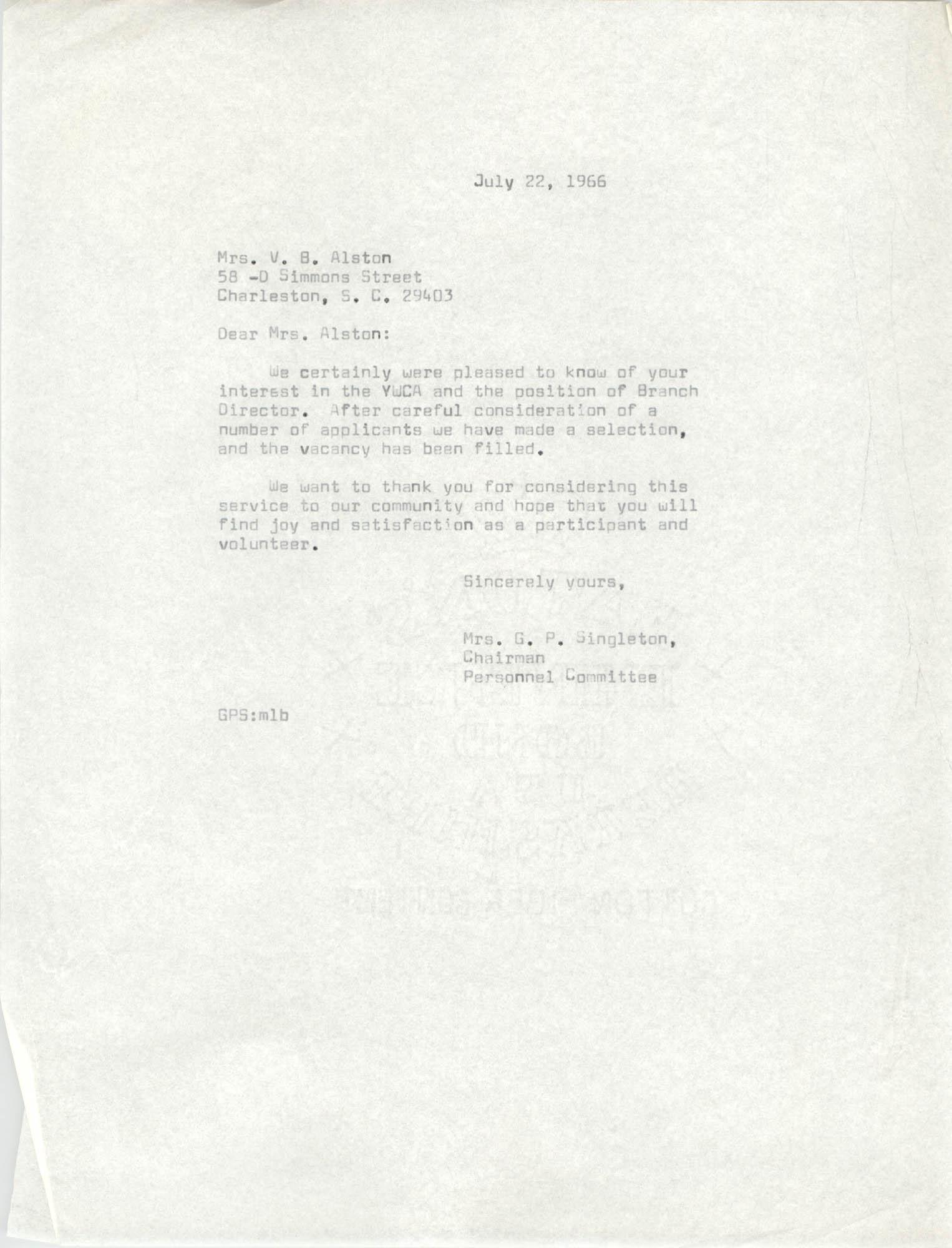 Letter from Mrs. G. P. Singleton to Virginia B. Alsten, July 22, 1966