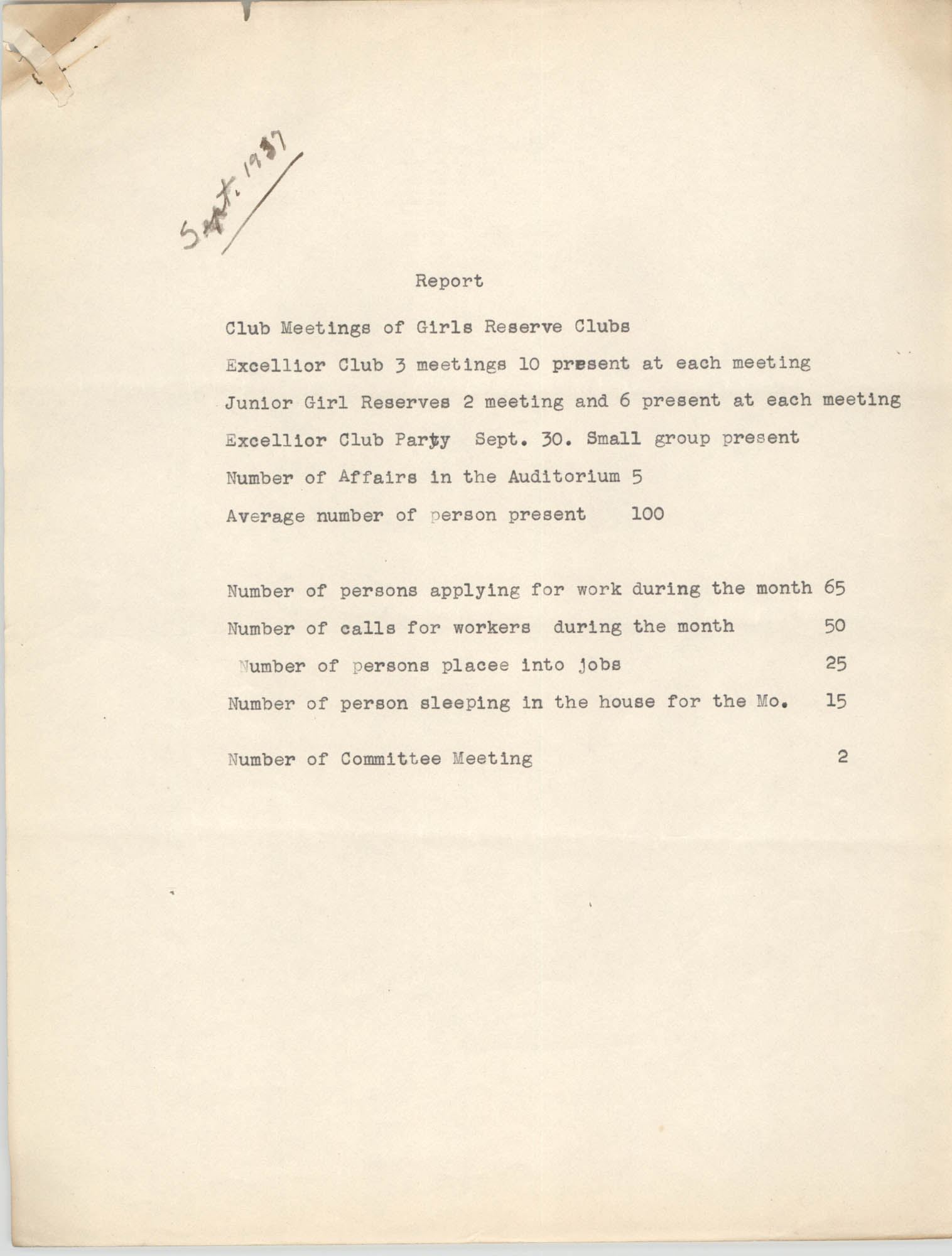 Monthly Report for the Coming Street Y.W.C.A., September 1937
