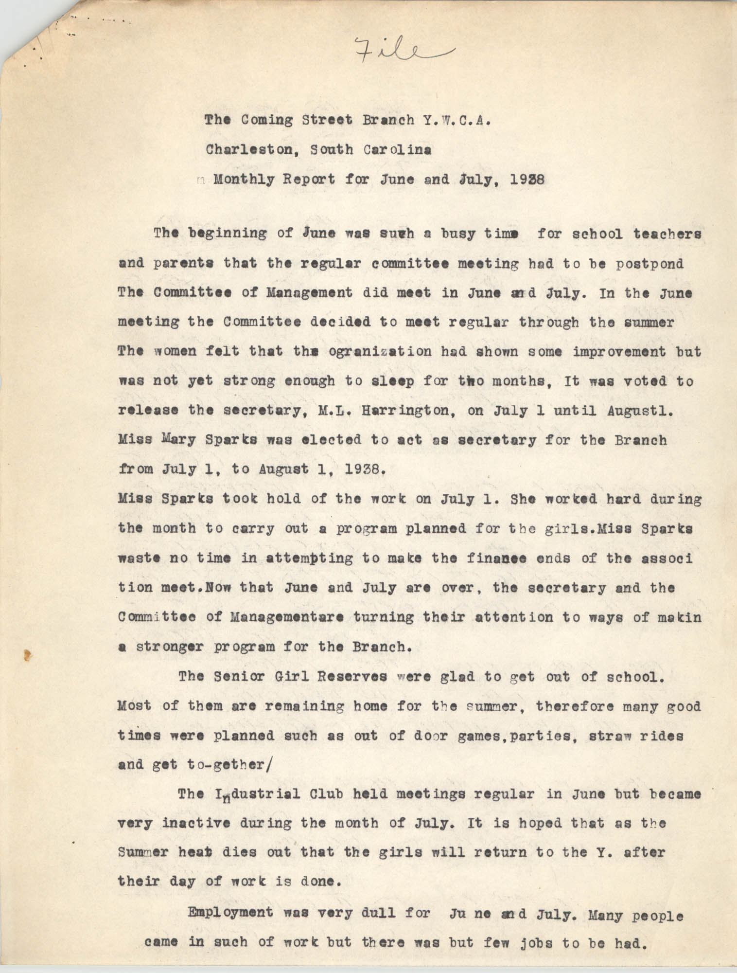 Monthly Report for the Coming Street Y.W.C.A., June and July 1938