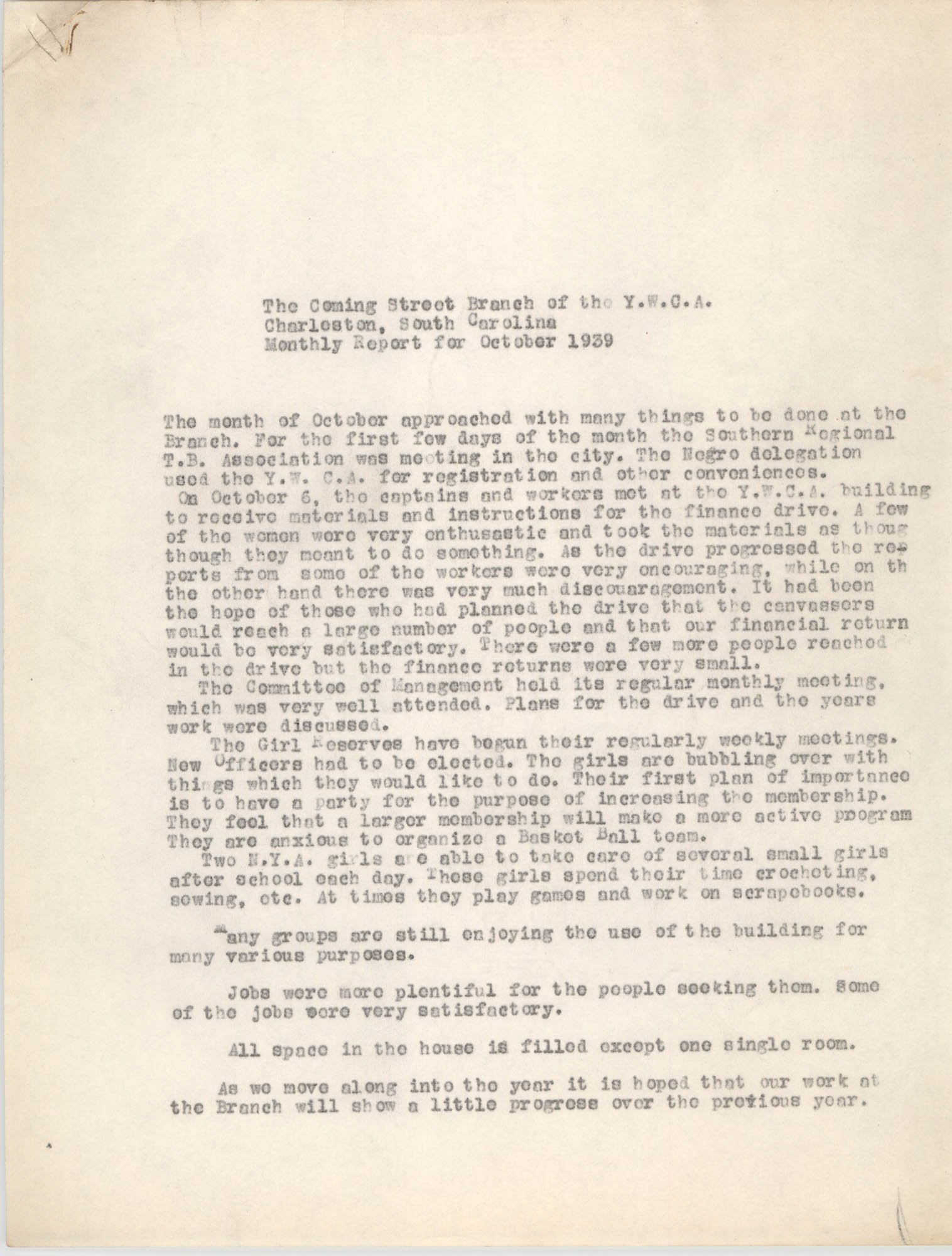 Monthly Report for the Coming Street Y.W.C.A., October 1939