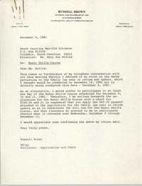 Letter from Russell Brown to Mary Ann Hollis, December 4, 1981