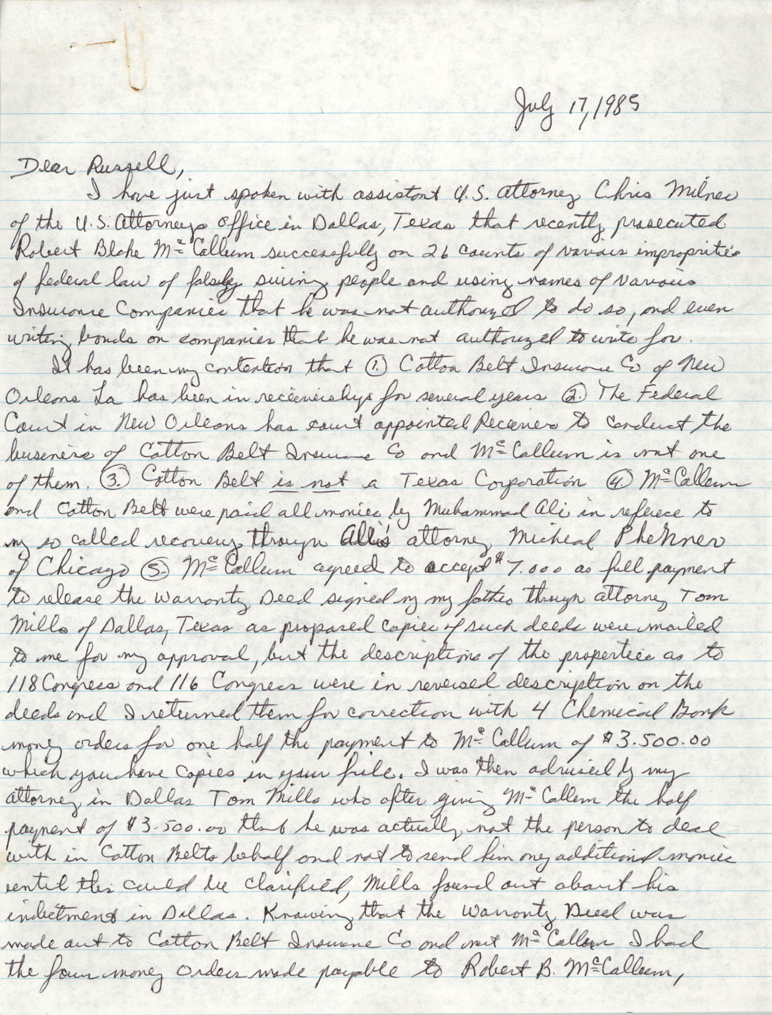 Handwritten letter from Reginald C. Barrett Jr. to Russell Brown, July 17, 1985