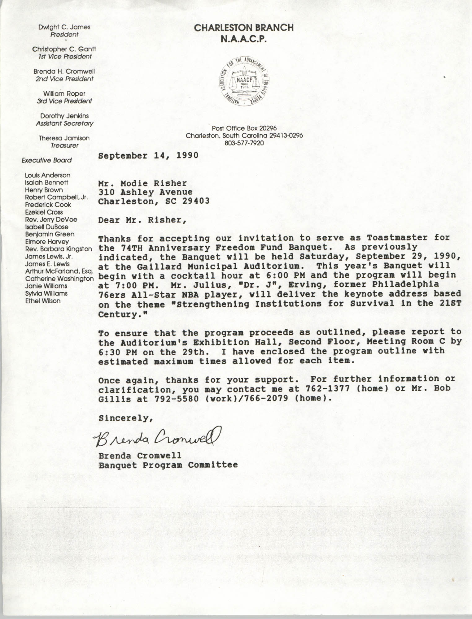 Letter from Brenda Cromwell to Modie Risher, September 14, 1990