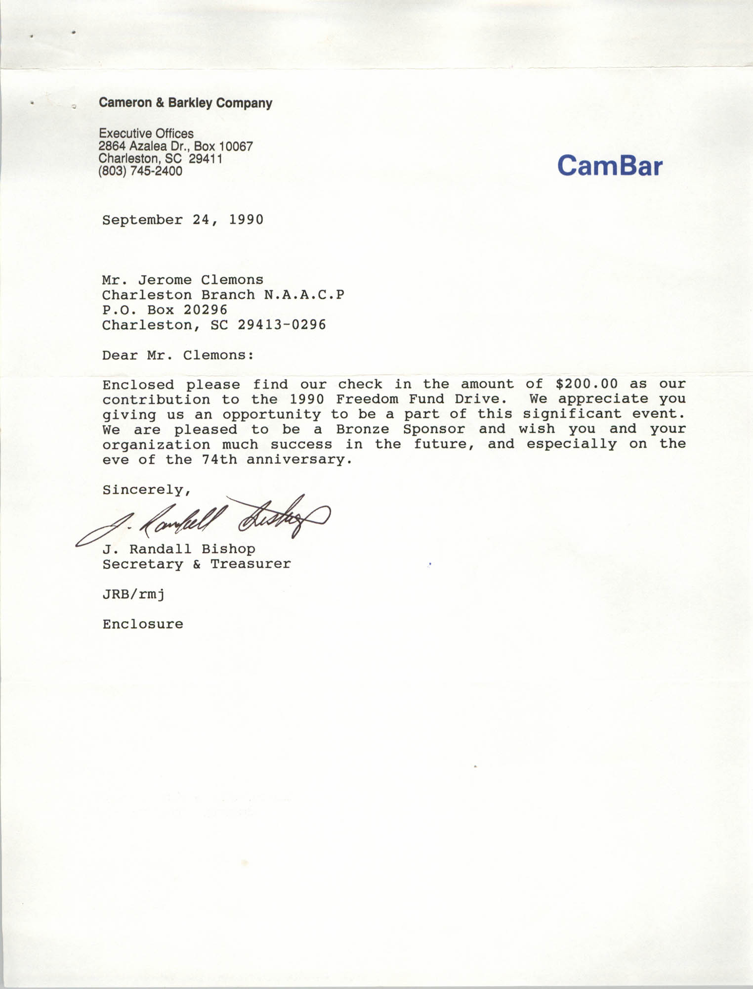 Letter from J. Randall Bishop to Jerome Clemons, September 24, 1990