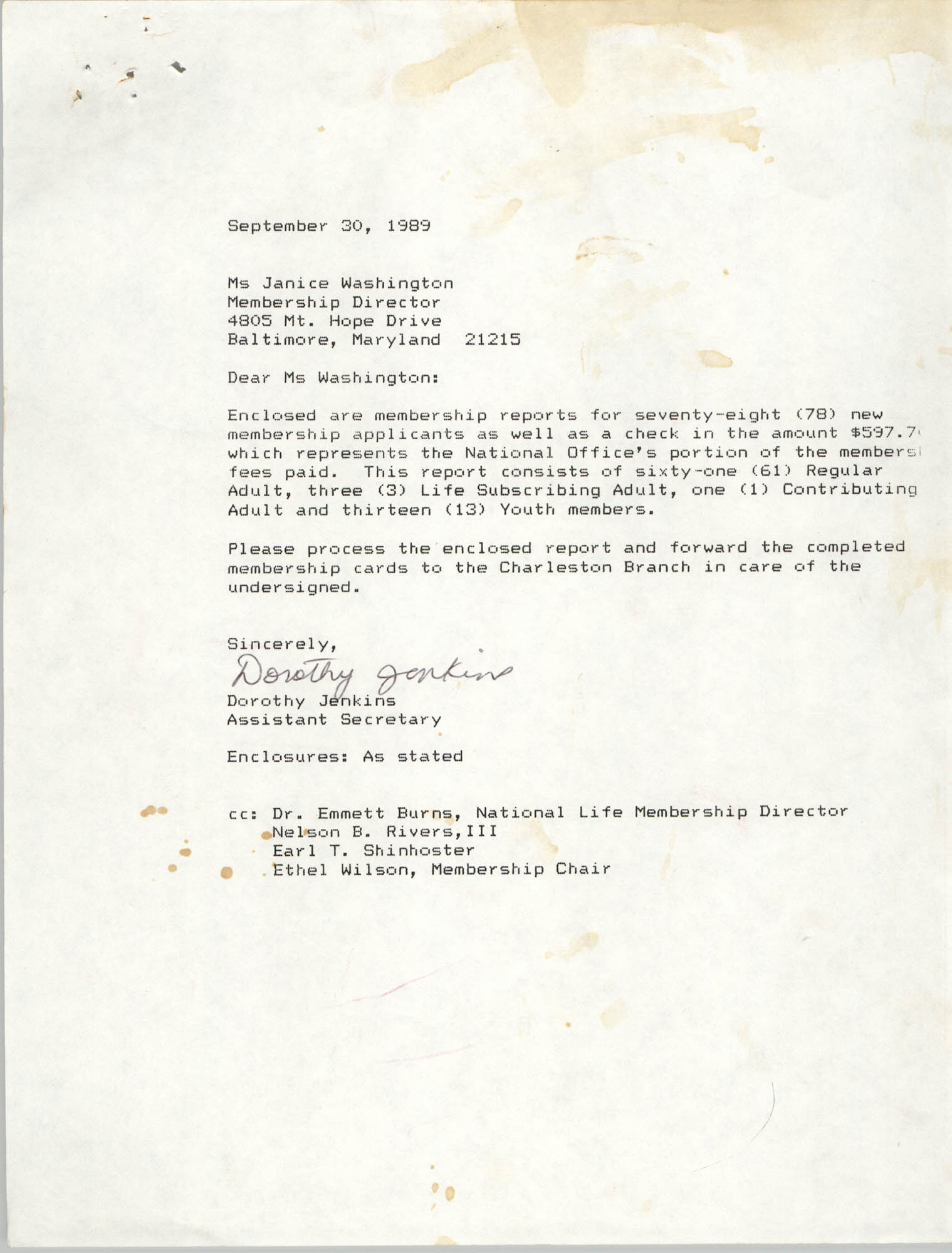 Letter from Dorothy Jenkins to Janice Washington, NAACP, September 30, 1989