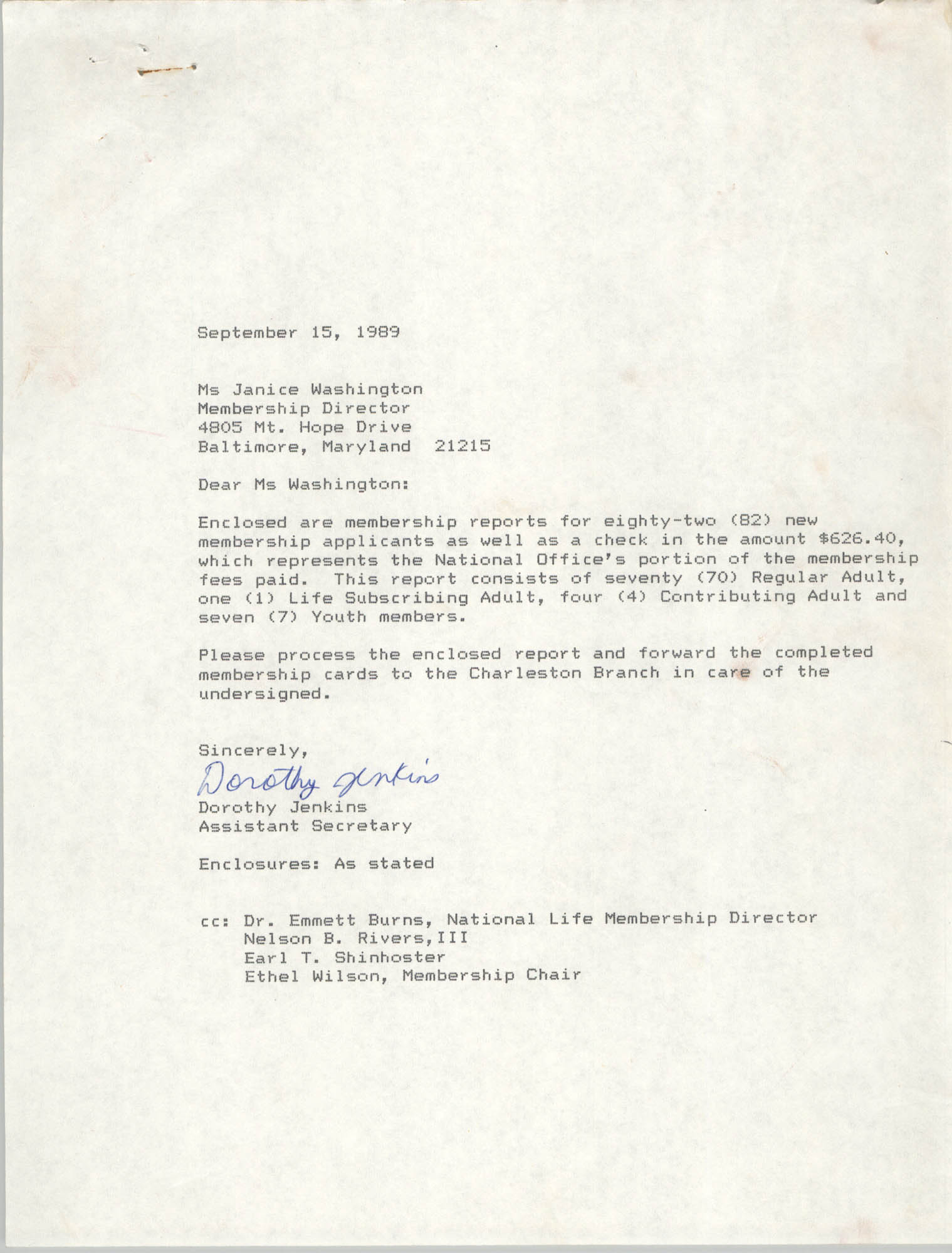Letter from Dorothy Jenkins to Janice Washington, NAACP, September 15, 1989