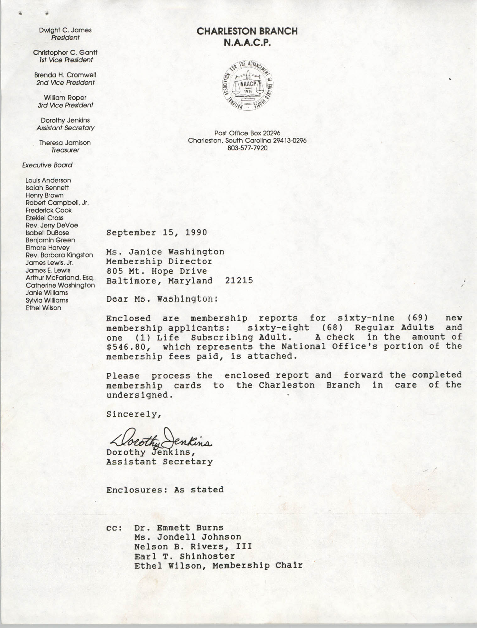 Letter from Dorothy Jenkins to Janice Washington, NAACP, September 15, 1990