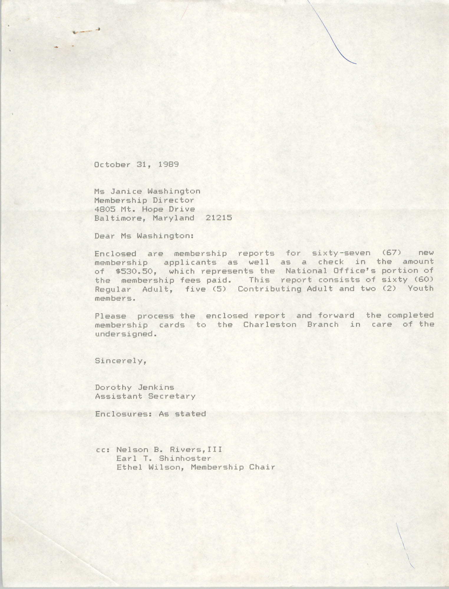 Letter from Dorothy Jenkins to Janice Washington, NAACP, October 31, 1989