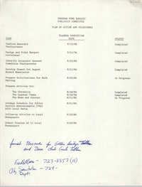 Plan of Action and Milestones, Publicity Committee, Freedom Fund Banquet, 1986