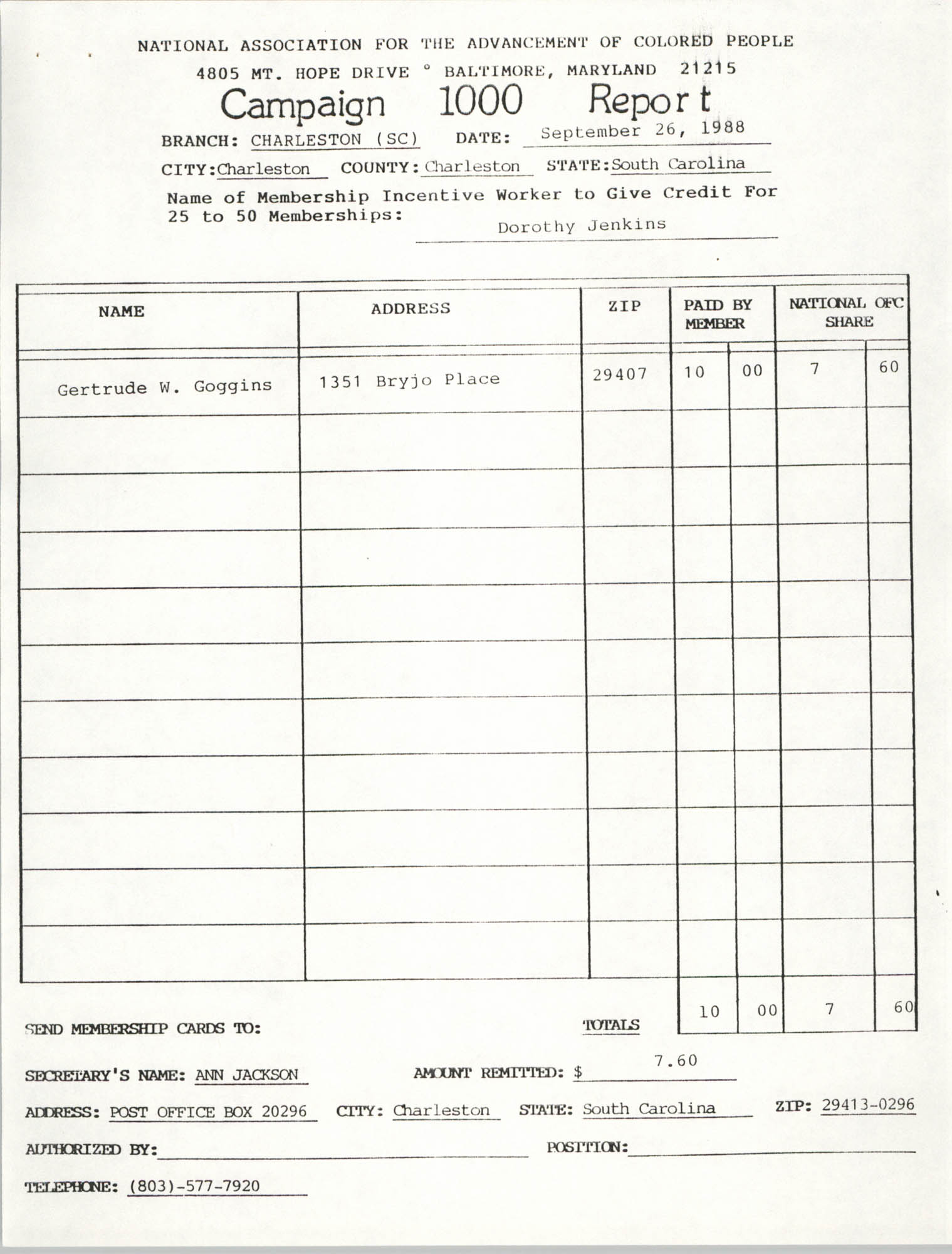 Campaign 1000 Report, Dorothy Jenkins, Charleston Branch of the NAACP, September 26, 1988