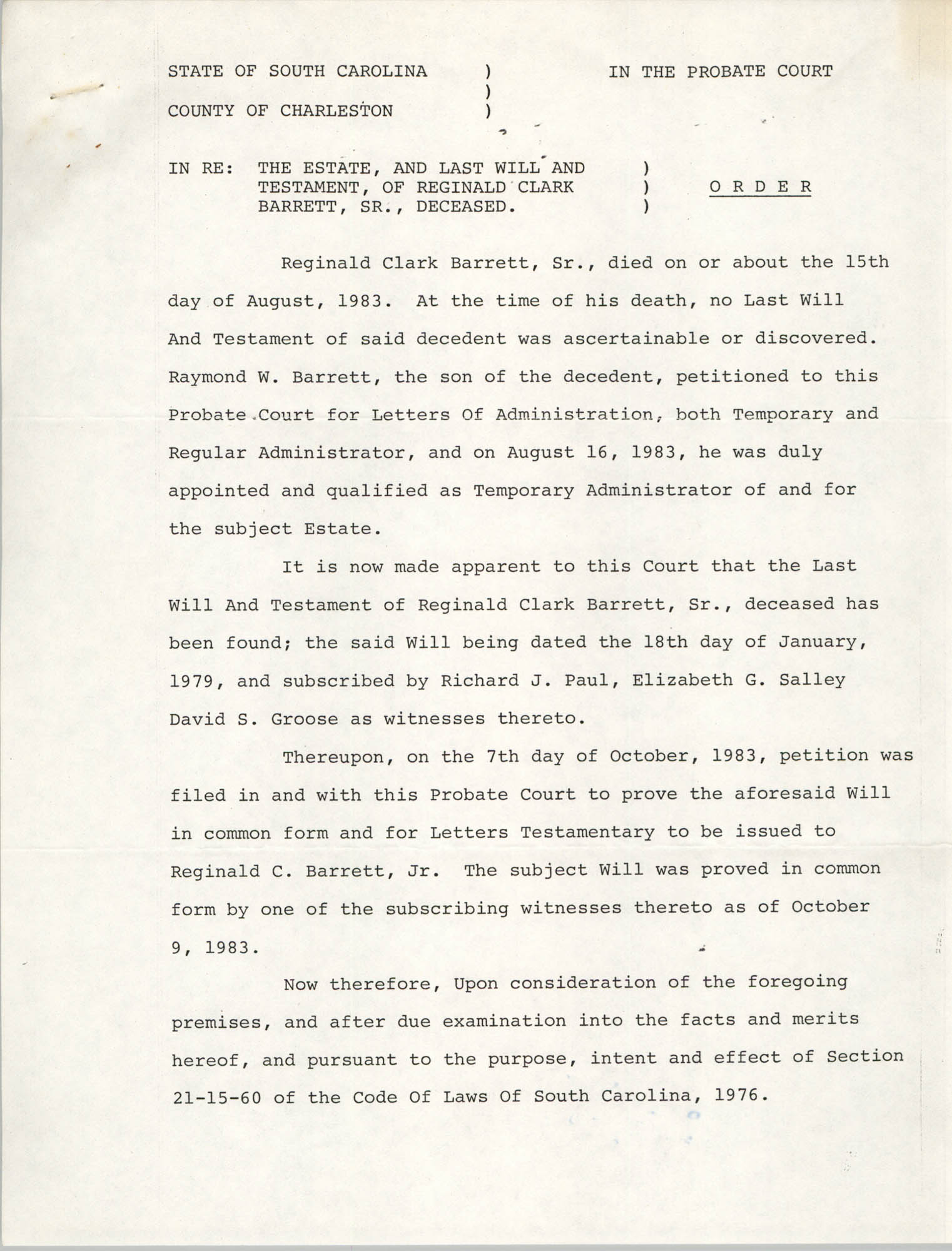 Order, Probate Court, State of South Carolina, Gus. H. Pearlman, October 7, 1983