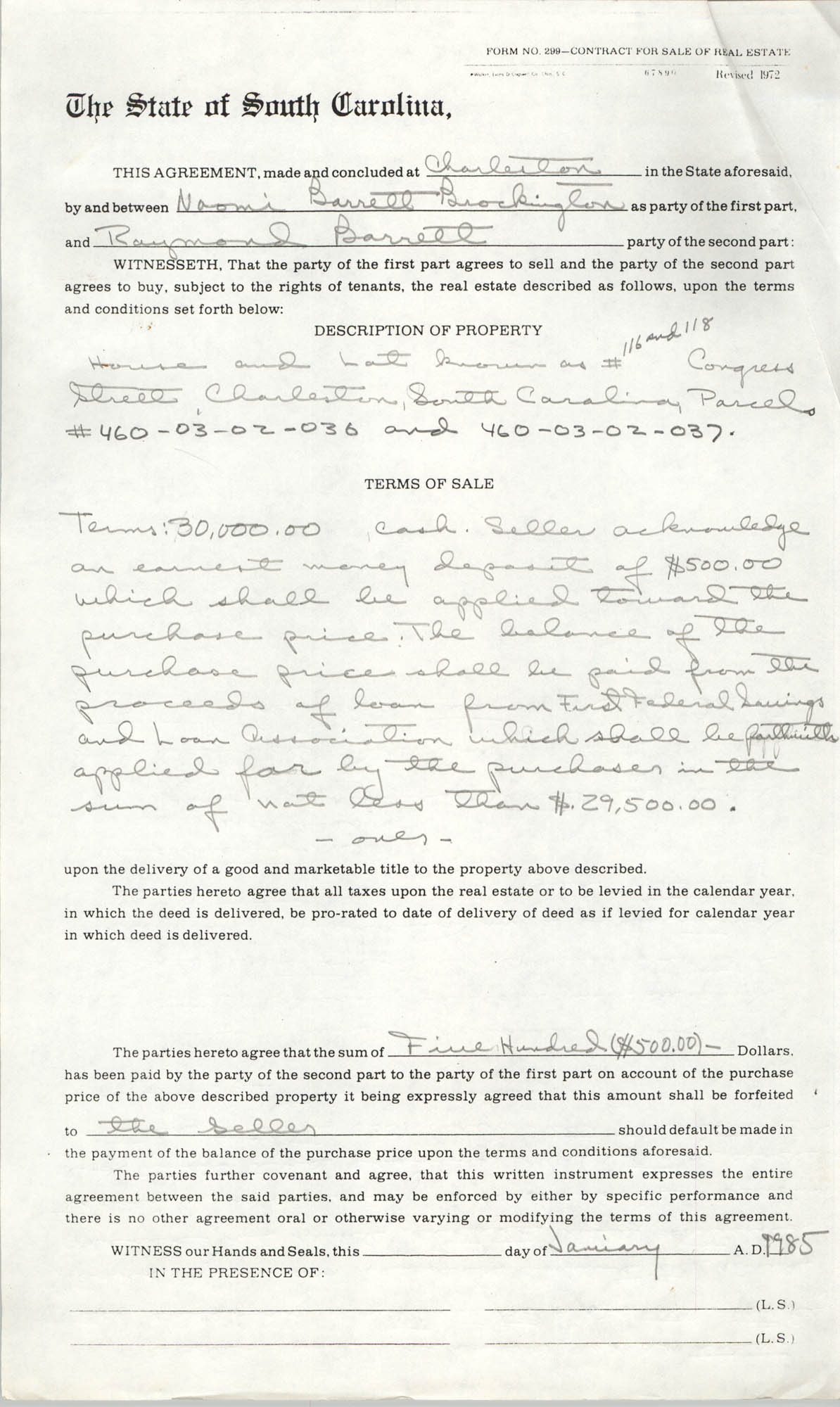 Contract for Sale of Real Estate, State of South Carolina, January 1985