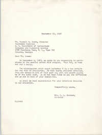 Letter from Christine O. Jackson to Russell H. James, September 22, 1967