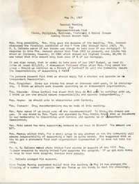 Minutes to Special Meeting, Coming Street Y.W.C.A., May 24, 1967