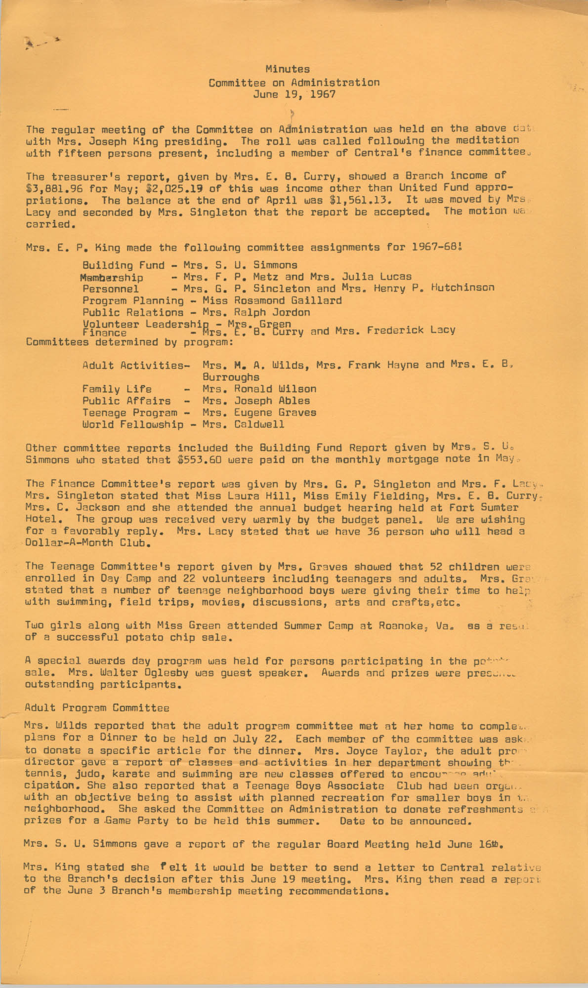 Minutes to the Committee on Administration, Coming Street Y.W.C.A., June 19, 1967