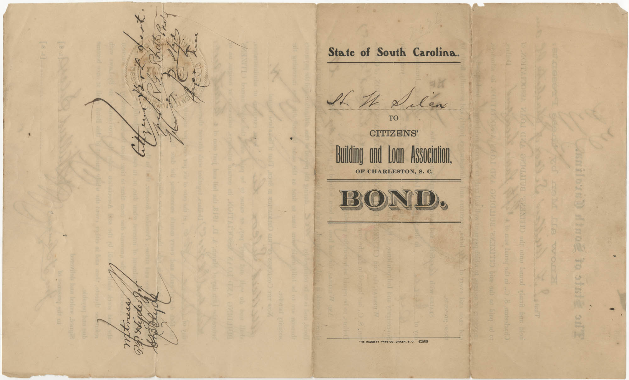 Bond, State of South Carolina Citizens' Building and Loan Association of Charleston, S. C., June 6, 1906