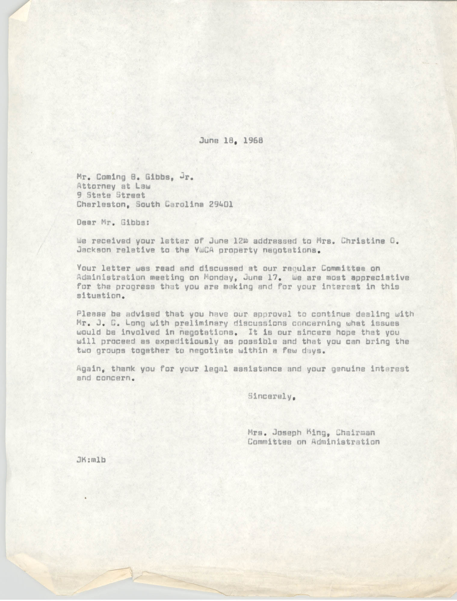 Letter from Mrs. Joseph King to Coming B. Gibbs, Jr., June 18, 1968