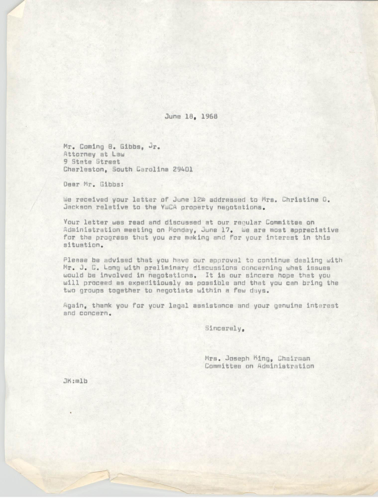 Letter from Mrs. Joseph King to Coming B. Gibbs, Jr., June 18, 1968