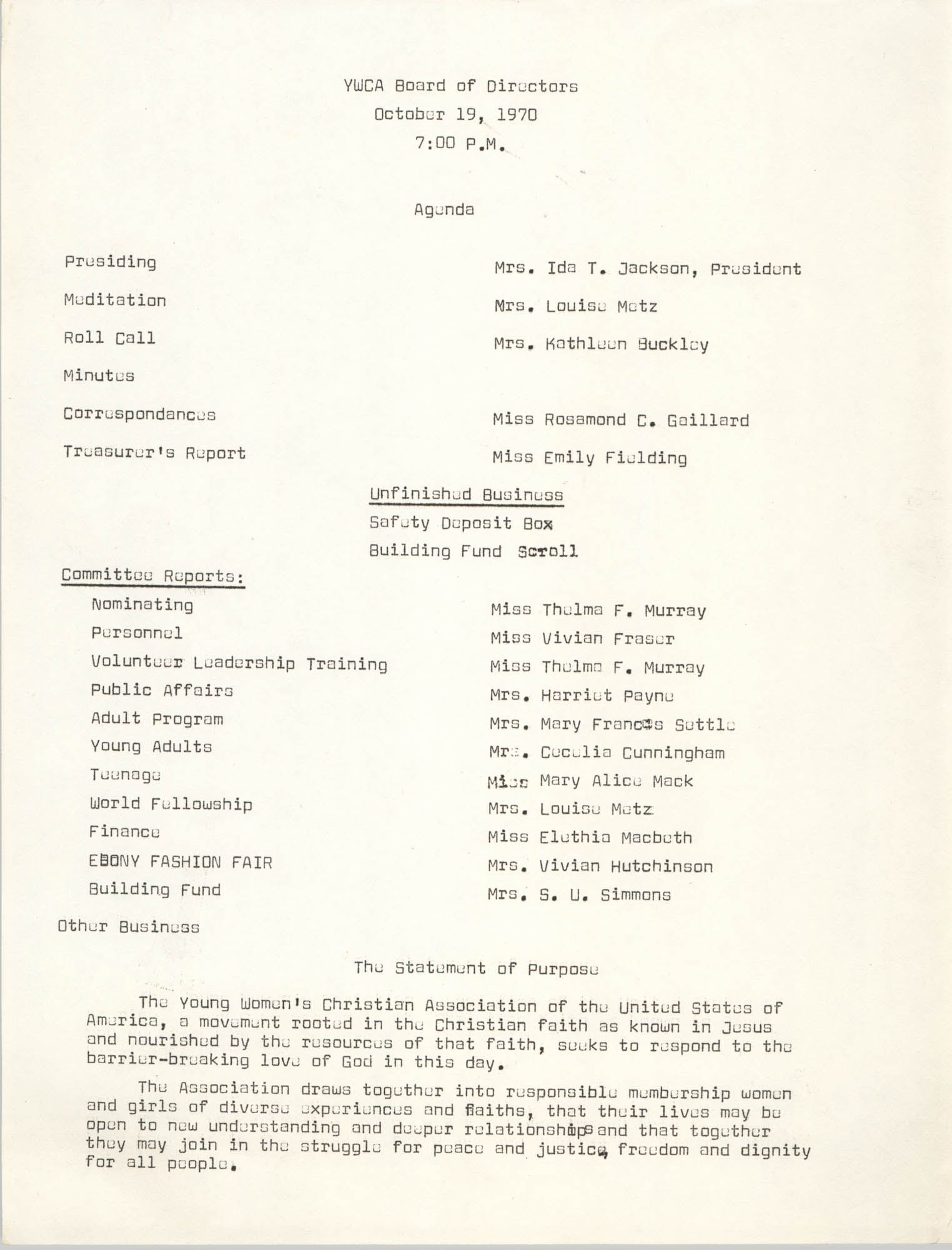 Agenda, Y.W.C.A. of Greater Charleston Board of Directors Meeting, October 19, 1970