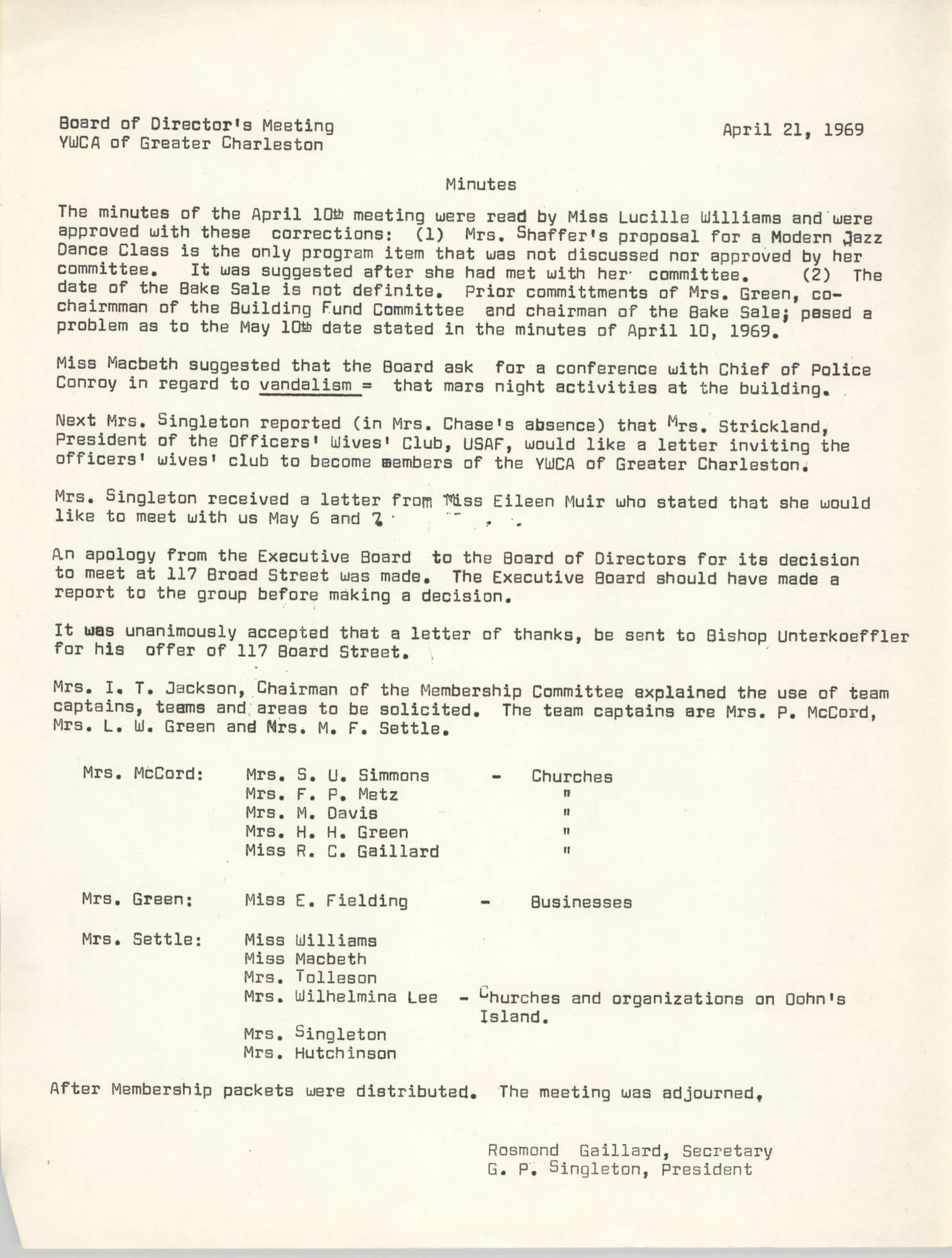 Minutes to the Board of Directors Meeting, Y.W.C.A. of Greater Charleston, April 21, 1969