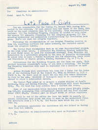 Coming Street Y.W.C.A. Memorandum, August 10, 1962