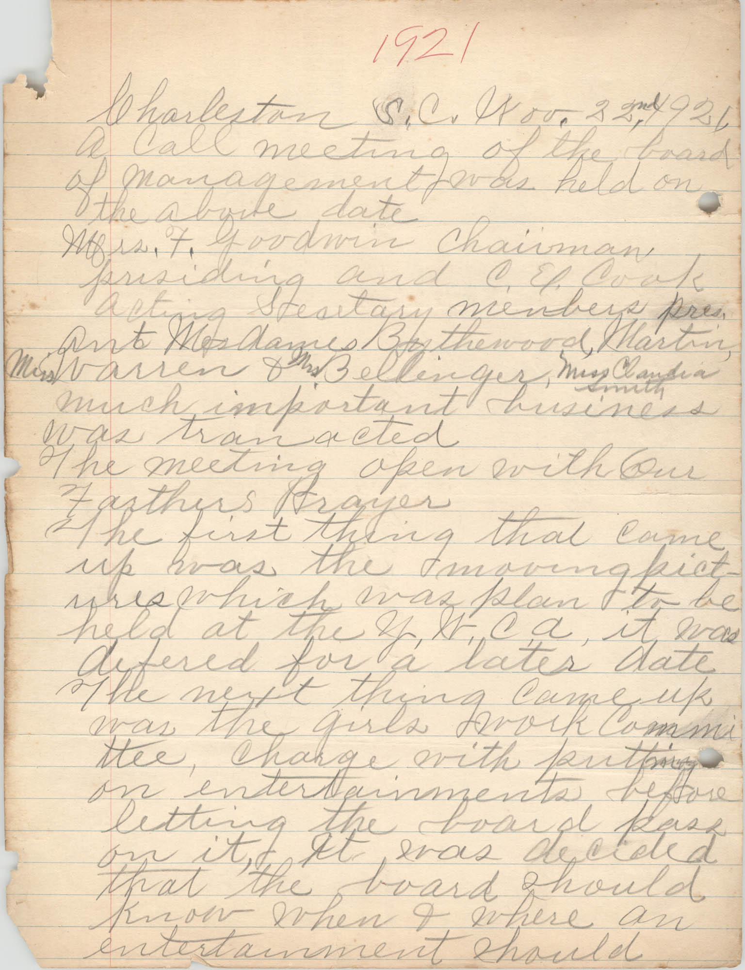 Minutes, Coming Street Y.W.C.A., November 22, 1921