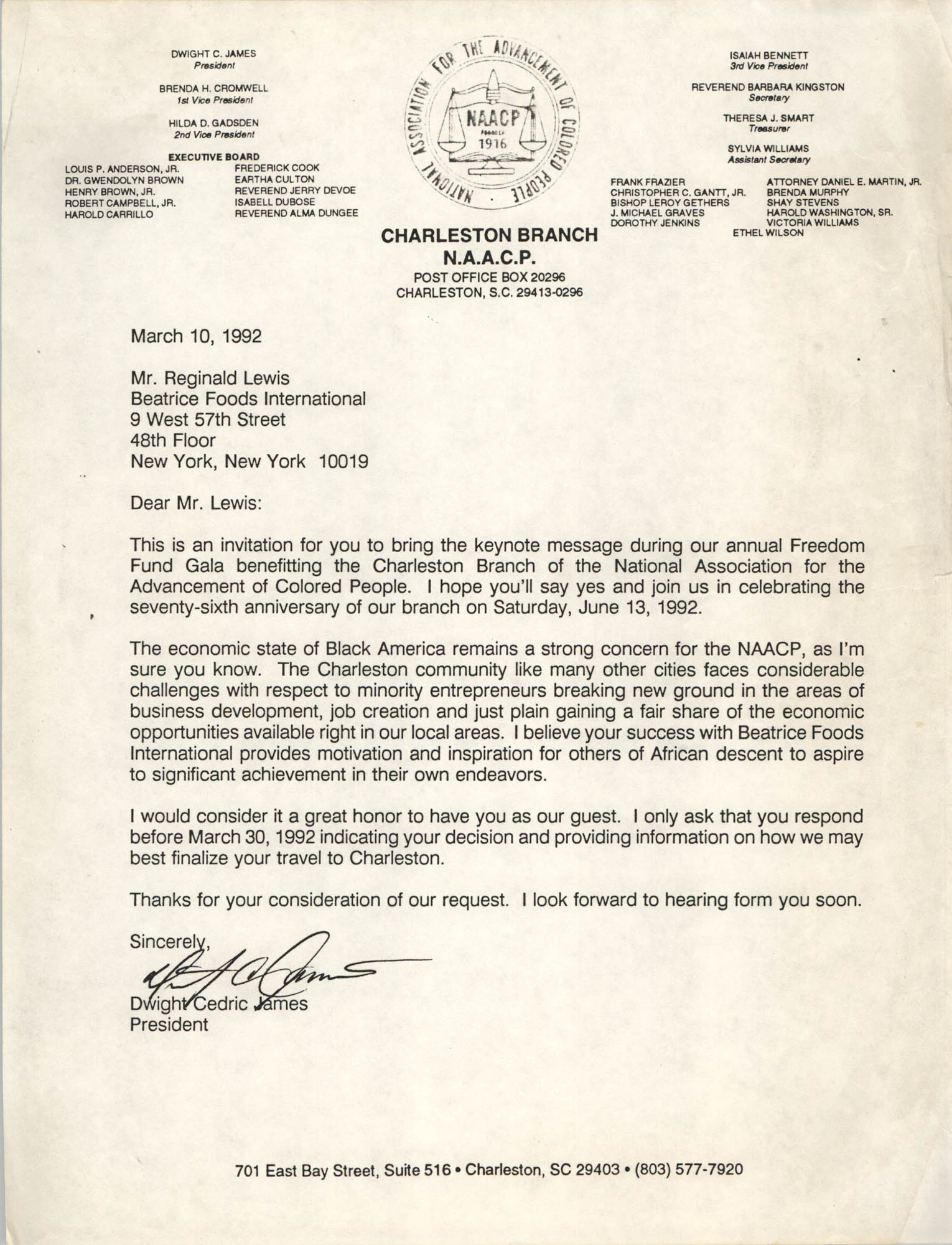 Letter from Dwight Cedric James to Reginald Lewis, March 10, 1992
