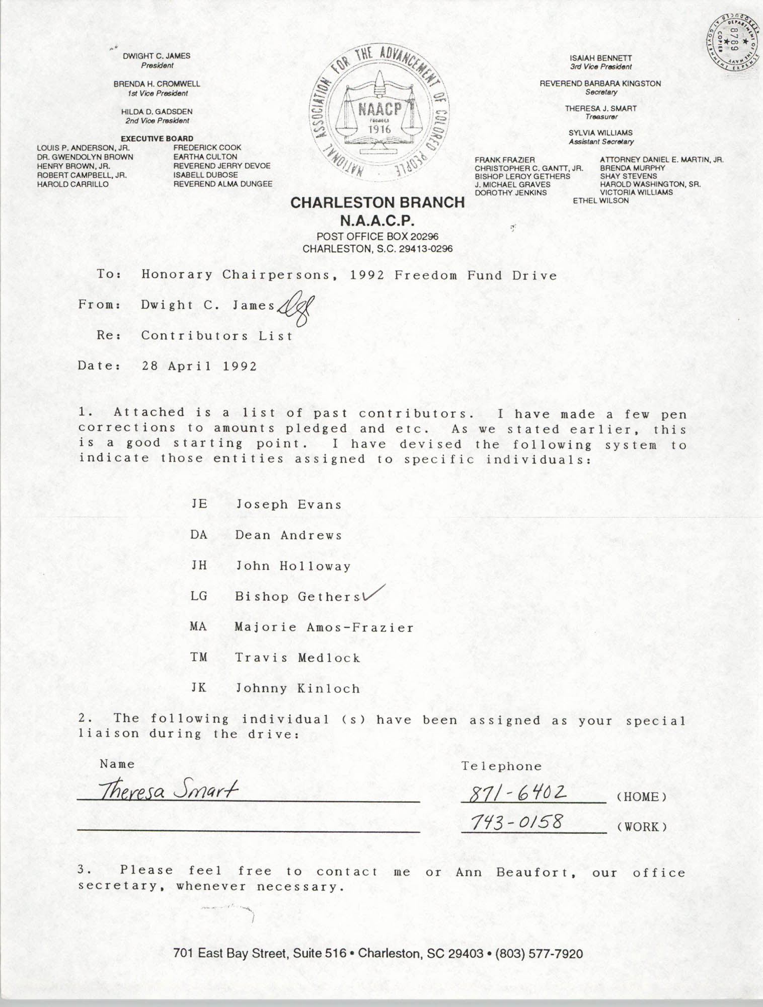 Memorandum, Dwight C. James, April 28, 1992
