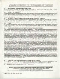 Application for a Temporary Beer and Wine Permit, South Carolina Alcoholic Beverage Control Commission, revised June 1990