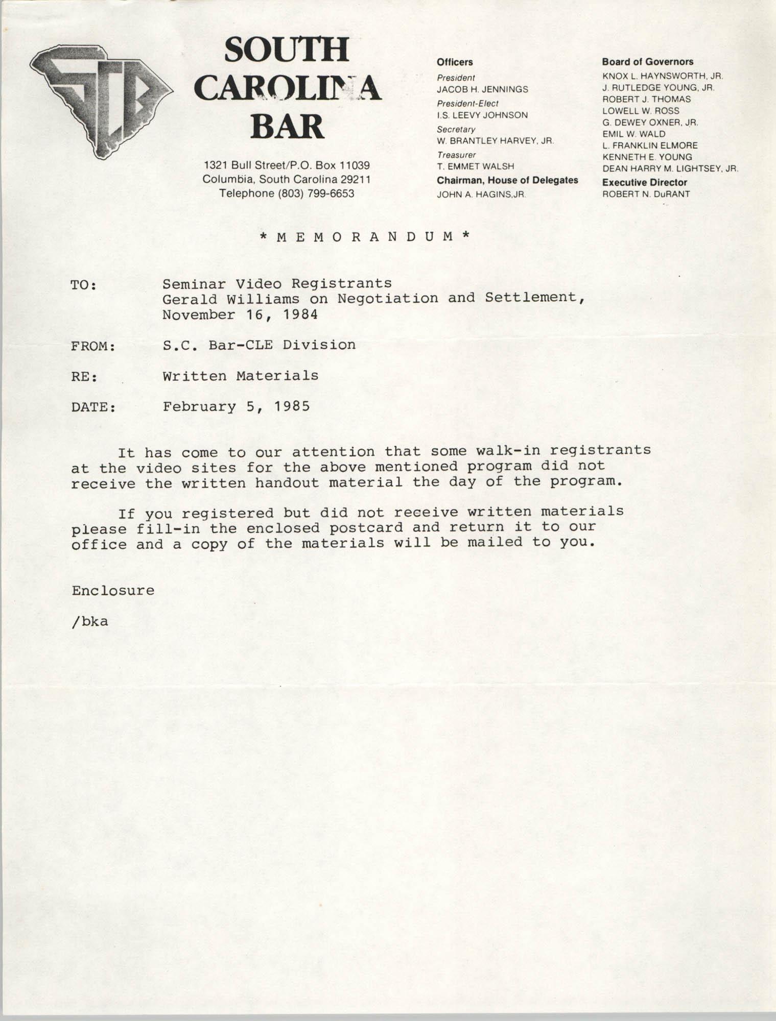 South Carolina Bar Memorandum, February 5, 1985