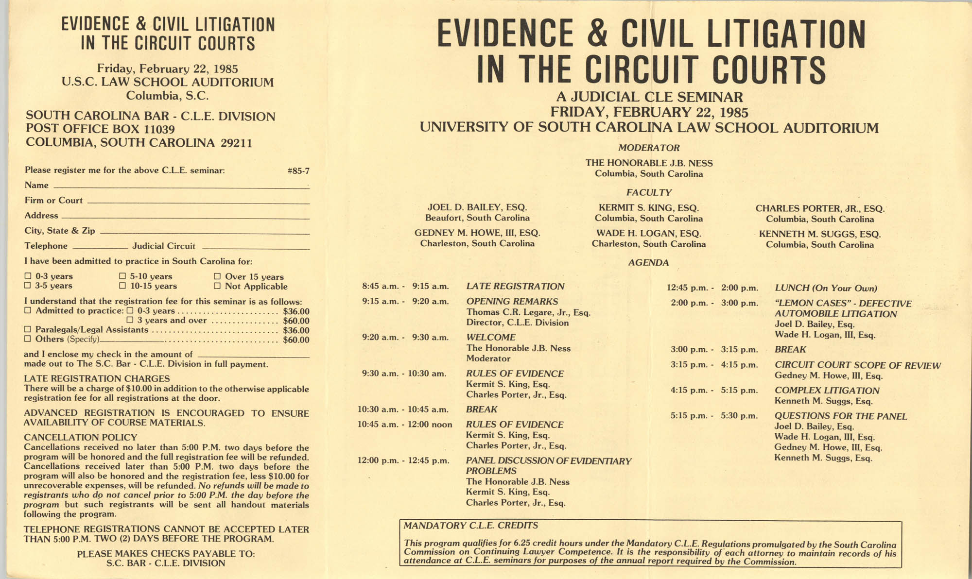 Evidence & Civil Litigation in the Circuit Courts, Continuing Judicial Education Seminar Pamphlet, February 22, 1985