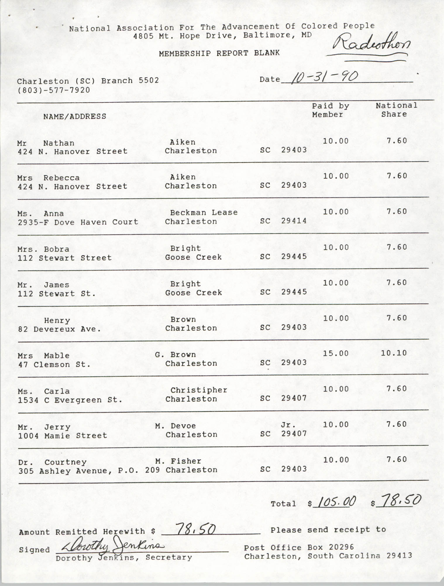Membership Report Blank, Charleston Branch of the NAACP, Dorothy Jenkins, October 31, 1990