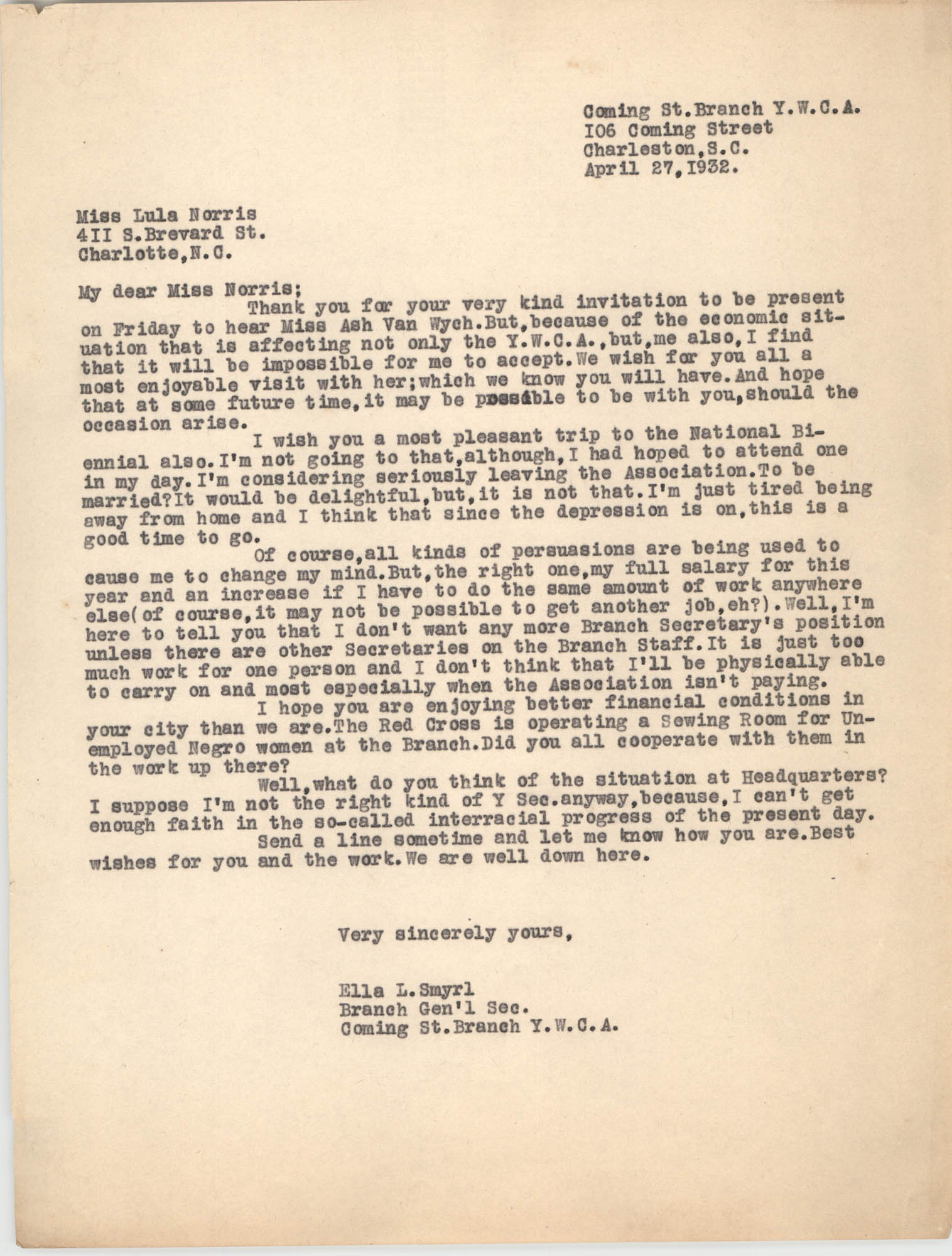 Letter from Ella L. Smyrl to Lula Norris, April 27, 1932