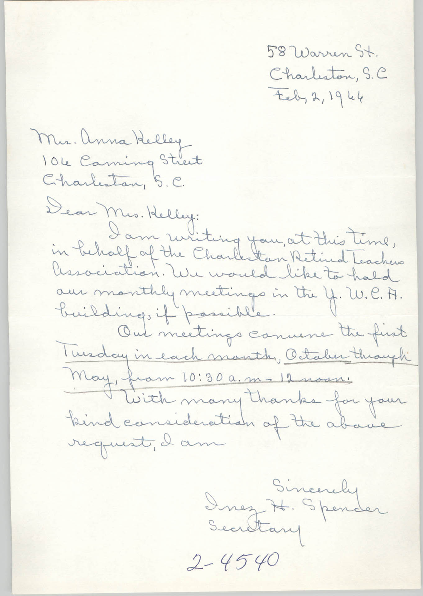 Letter from Inez H. Spencer to Anna D. Kelly, February 2, 1966
