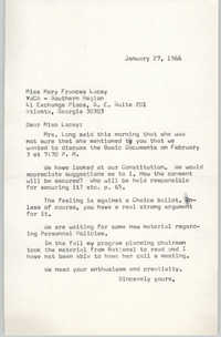 Letter from Anna D. Kelly to Mary Frances Lacey, January 27, 1966