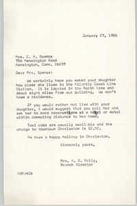 Letter from Anna D. Kelly to C. A. Spence, January 27, 1966