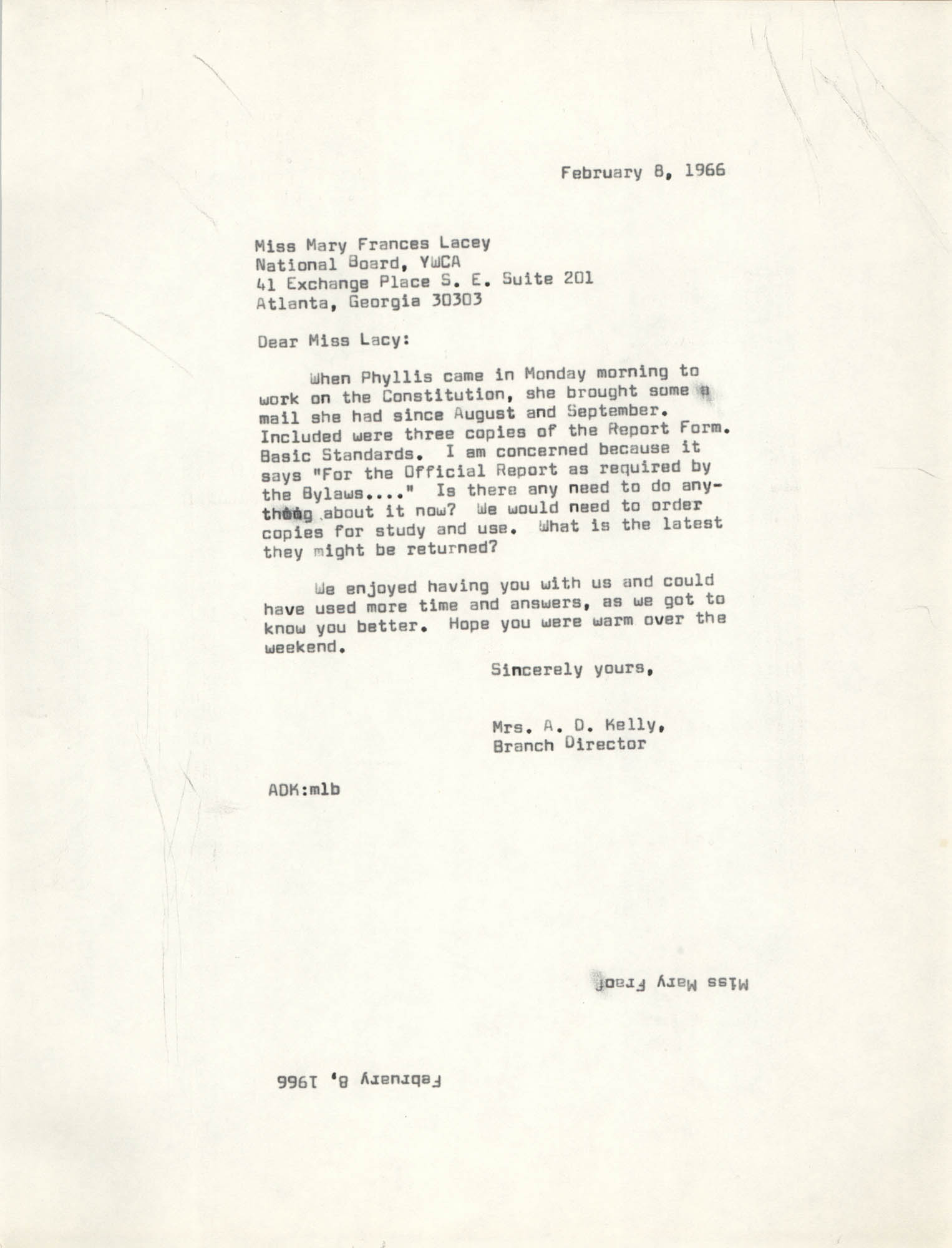 Letter from Anna D. Kelly to Mary Frances Lacey, February 8, 1966