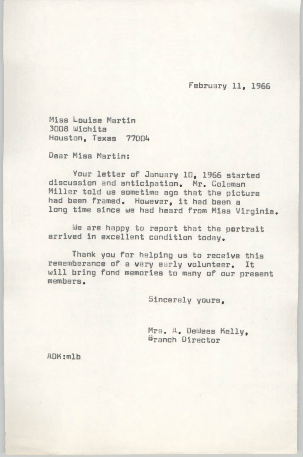 Letter from Anna D. Kelly to Louise Martin, February 11, 1966