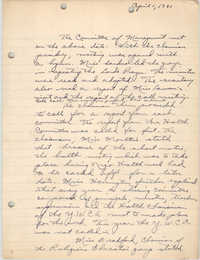 Minutes to the Committee of Management, Coming Street Y.W.C.A., April 1, 1941